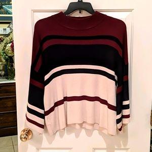 LOFT Navy Blue, Cream & Burgundy sweater